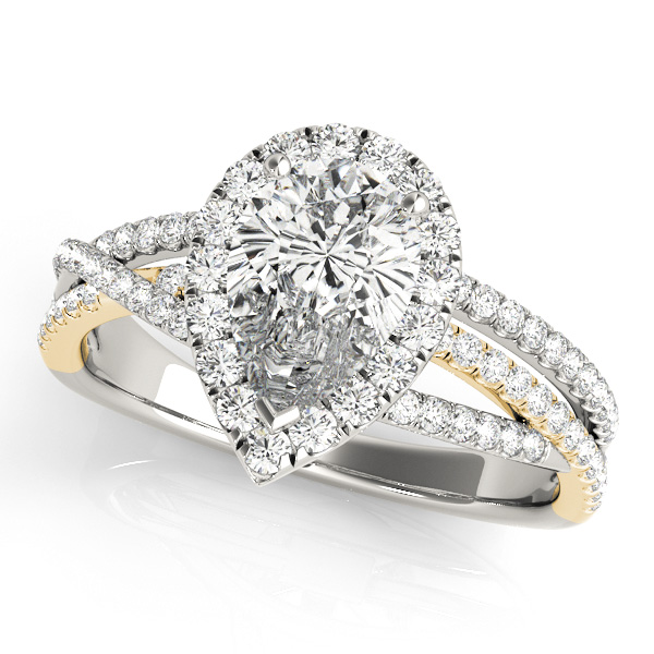 Pear Shaped Up & Over Halo Diamond Engagement Ring in Yellow Gold