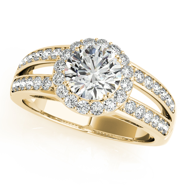 Halo Diamond Split Band Engagement Ring in 14k Yellow Gold