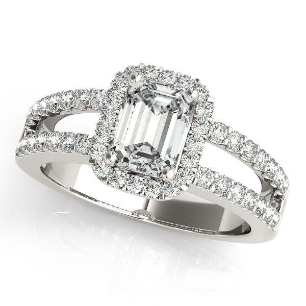 Emerald Cut Halo Diamond Engagement Ring with Split Band & Filigree Accents