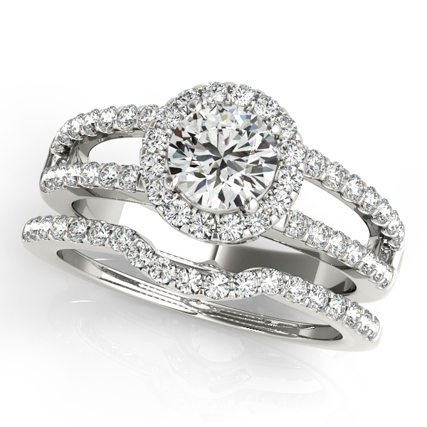Halo Diamond Bridal Set with Split Band & Filigree Accents