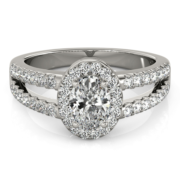 Oval Shape  Halo Diamond Engagement Ring with Split Band & Filigree Accents