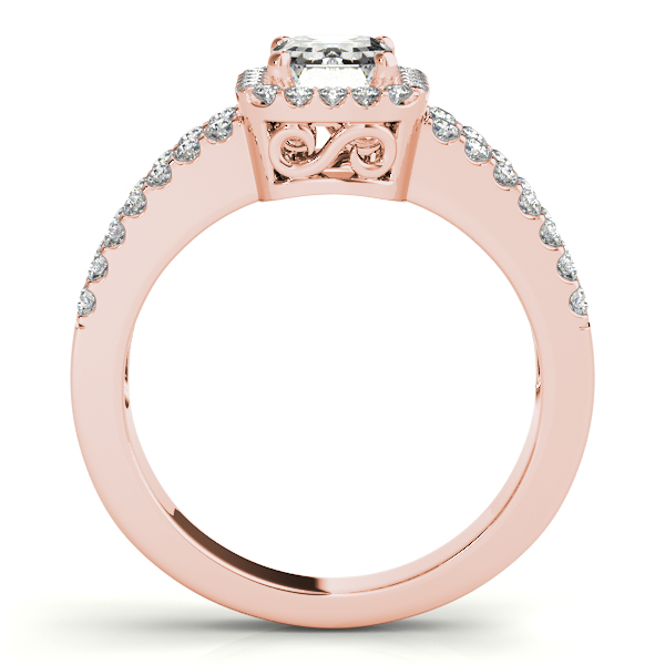 Emerald Cut Halo Diamond Engagement Ring with Split Band & Filigree Accents in Rose Gold