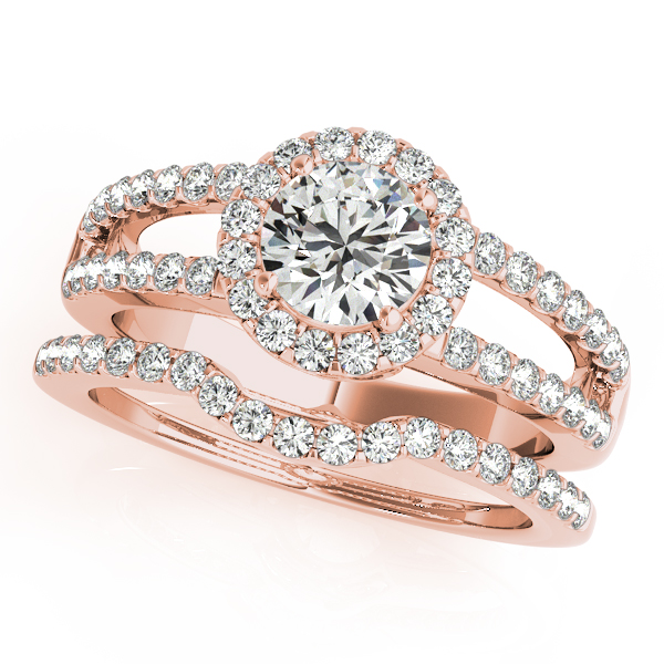 Halo Diamond Bridal Set with Split Band & Filigree Accents in Rose Gold