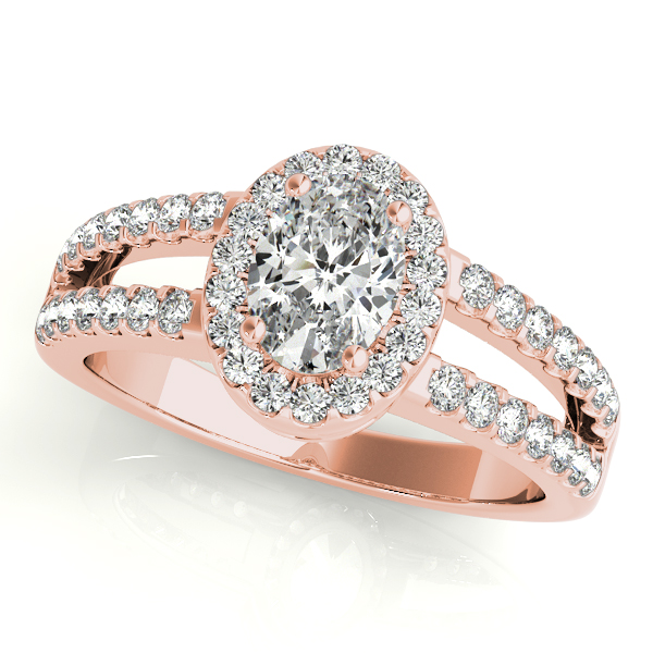 Oval Shape  Halo Diamond Engagement Ring with Split Band & Filigree Accents in Rose Gold