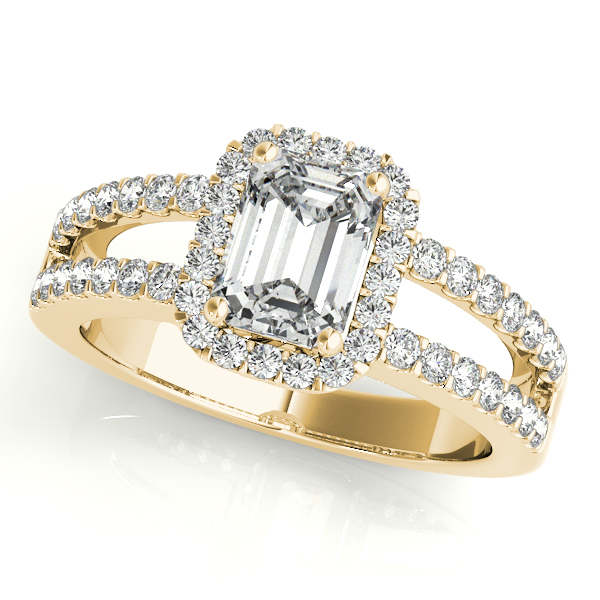 Emerald Cut Halo Diamond Engagement Ring with Split Band & Filigree Accents in Yellow Gold
