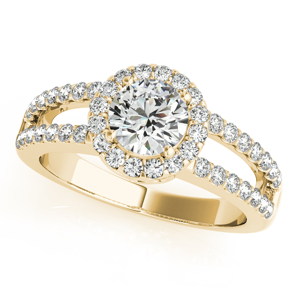 Halo Diamond Bridal Set with Split Band & Filigree Accents in Yellow Gold
