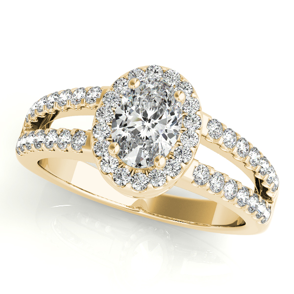 Oval Shape  Halo Diamond Engagement Ring with Split Band & Filigree Accents in Yellow Gold