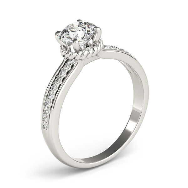 Diamond Engagement Ring with Rope Collar Accent
