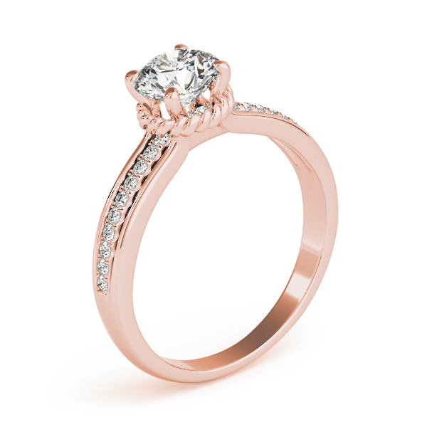 Diamond Engagement Ring with Rope Collar Accent in Rose Gold