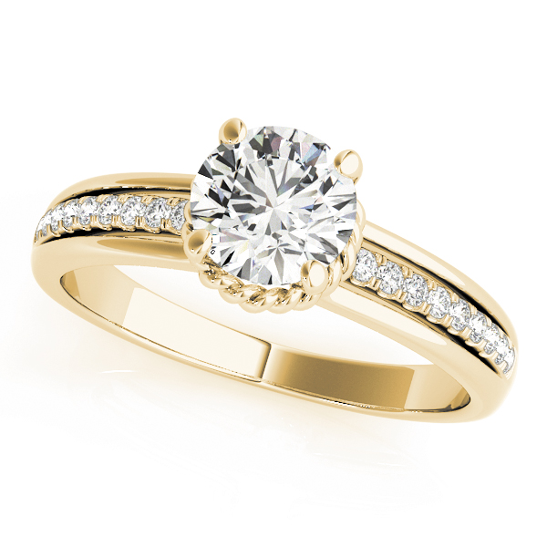 Diamond Engagement Ring with Rope Collar Accent in Yellow Gold