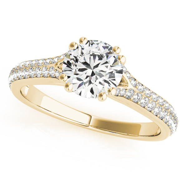 Petite Double Row Diamond Engagement Ring Split Band with Flower Filigree in Yellow Gold