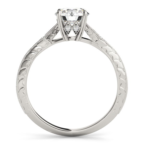 Petite Knife-Edge Engraved Engraved  Engagement Ring