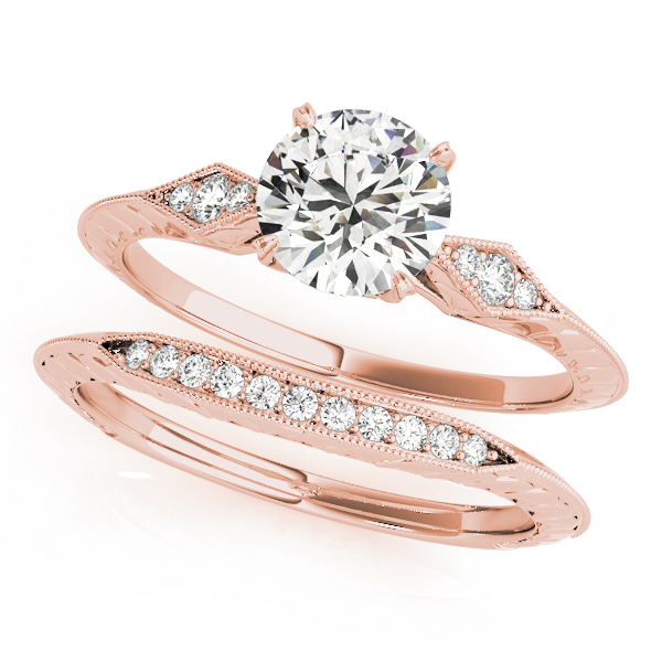 Petite Knife-Edge Diamond Engraved Engagement Ring in Rose Gold