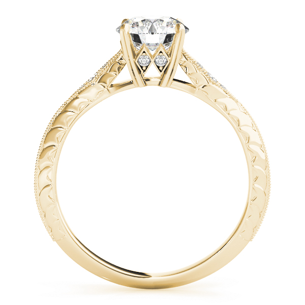 Petite Knife-Edge Engraved Engraved Engagement Ring in Yellow Gold