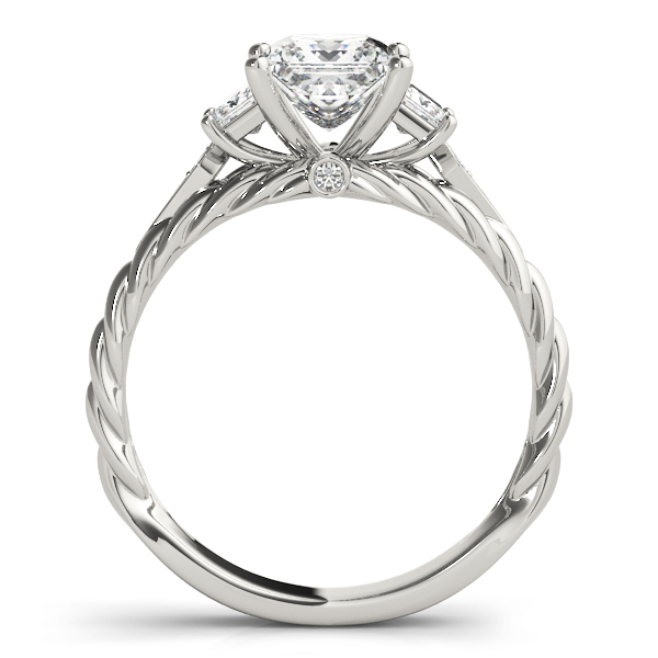 Three Stone Princess Cut Diamond Engagement Ring with Rope Band
