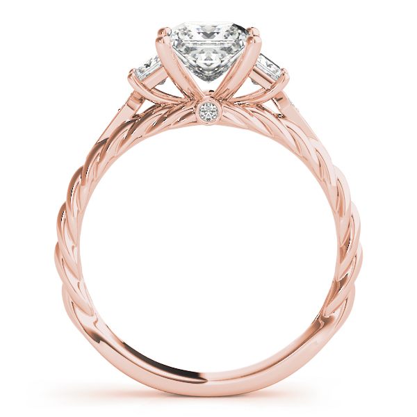 Three Stone Princess Cut Diamond Engagement Ring & Wedding Band with Rope Design