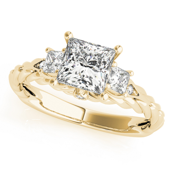 Three Stone Princess Cut Diamond Engagement Ring with Rope Band in Yellow Gold