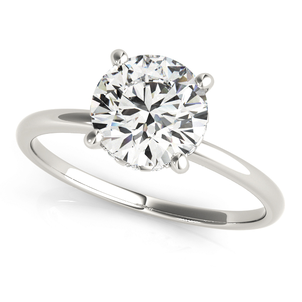 Classic Delicate Solitaire Engagement Ring with Diamond Accents