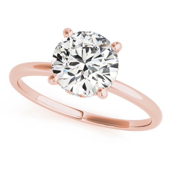 Classic Delicate Solitaire Bridal Set with Diamond Accents in Rose Gold