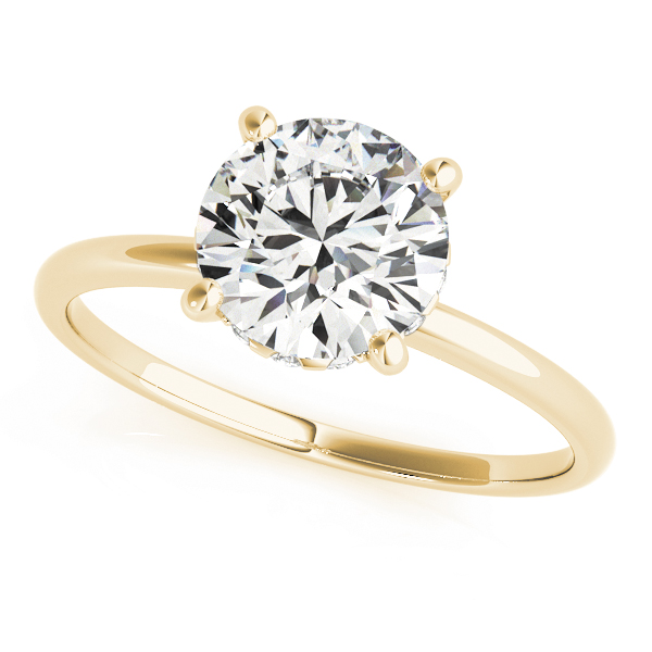 Classic Delicate Solitaire Engagement Ring with Diamond Accents in Yellow Gold