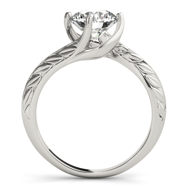 Swirl Solitaire Engraved Engagement Ring