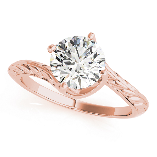 Swirl Solitaire Engraved Engagement Ring & Wedding Band in Rose Gold