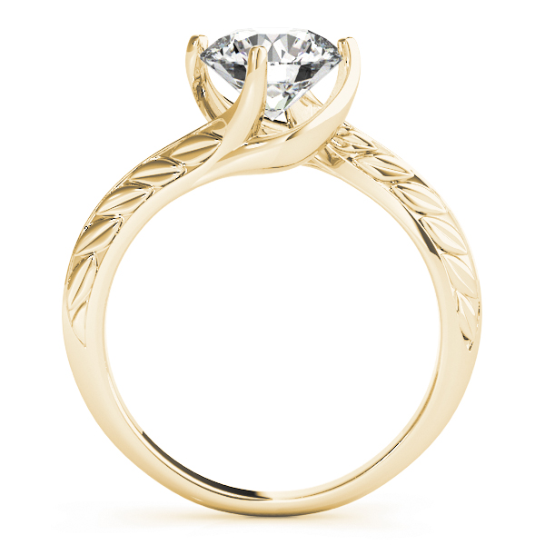 Swirl Solitaire Engraved Engagement Ring in Yellow Gold
