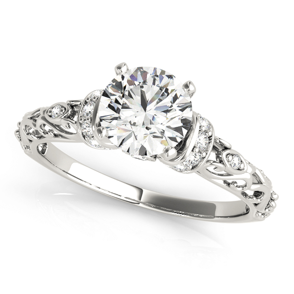 Heart Shaped Filigree Engagement Ring with Diamond Accents.