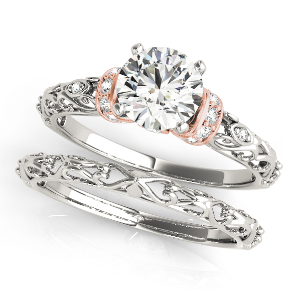 Heart Shaped Filigree Bridal Set with Diamond Accents in Rose Gold