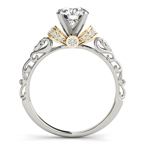 Heart Shaped Filigree Engagement Ring with Diamond & Yellow Gold Accents.