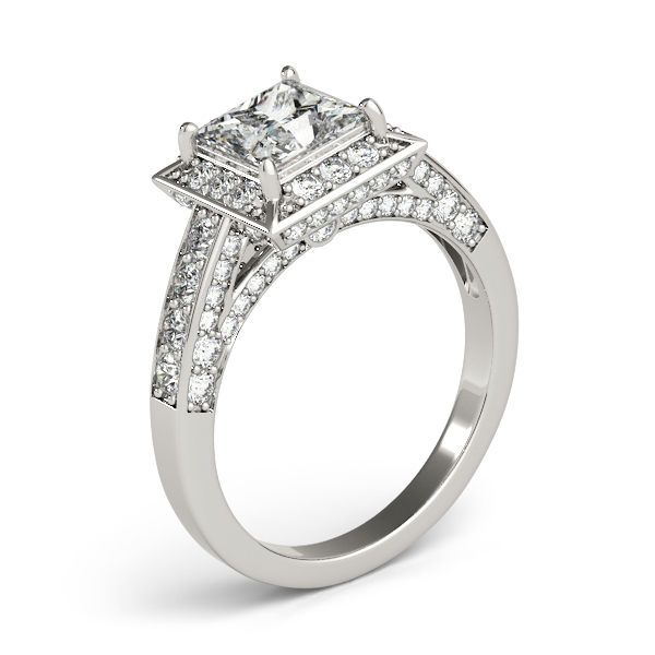 Square Diamond Halo Cathedral Legacy Design Engagement Ring