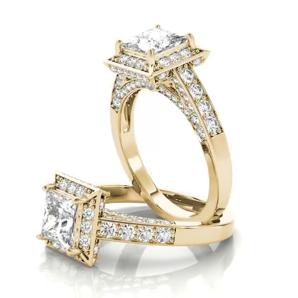 Square Diamond Halo Cathedral Legacy Design Engagement Ring Yellow Gold
