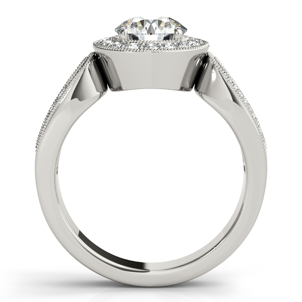 Diamond Halo Engagement Ring with Split Horseshoe Band