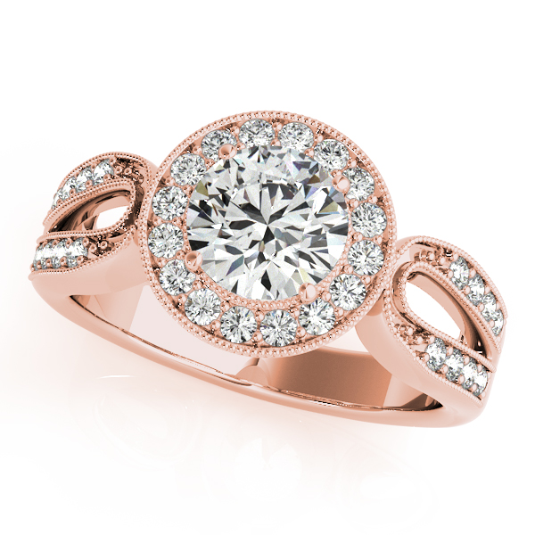Diamond Halo Engagement Ring with Split Horseshoe Band in Rose Gold