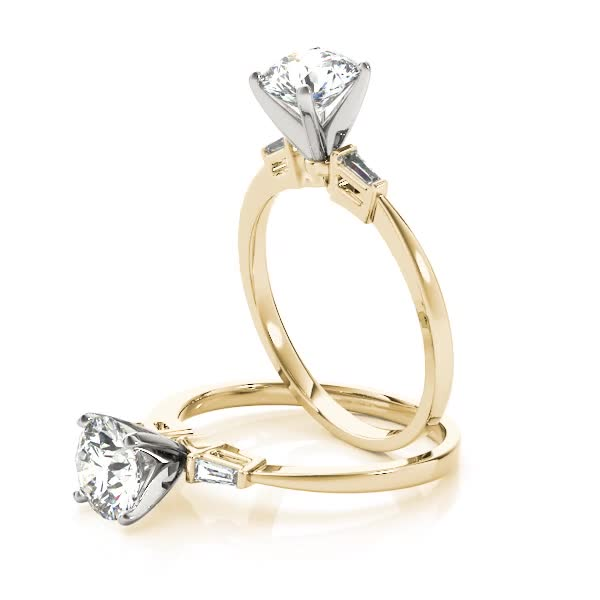 Classic Baguette Cut Diamond Engagement Ring in Yellow Gold
