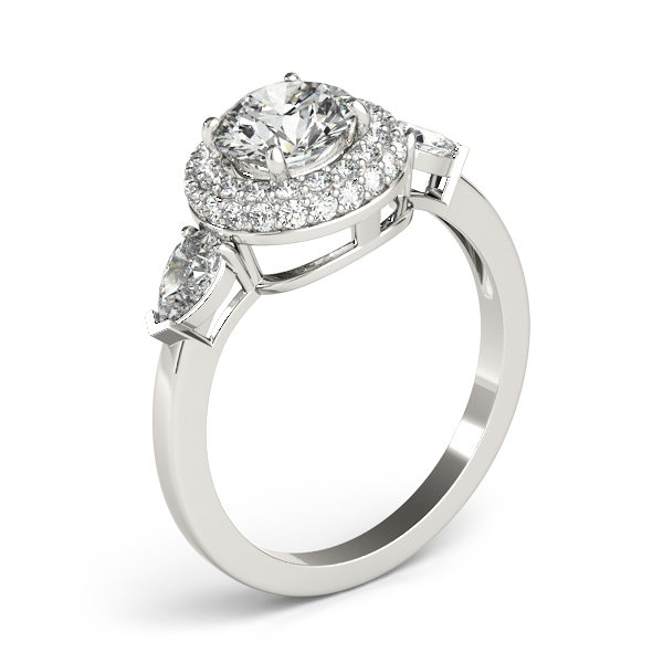 Double Halo Three Stone Diamond Engagement Ring with Pear Shape Diamond Accents