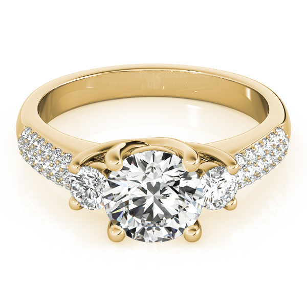 Three Stone Diamond Trellis Engagement or Anniversary Ring in Yellow Gold