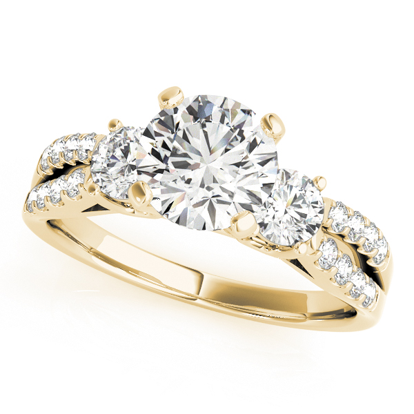 Three Stone Diamond Engagement Ring with Split Diamond Band in Yellow Gold