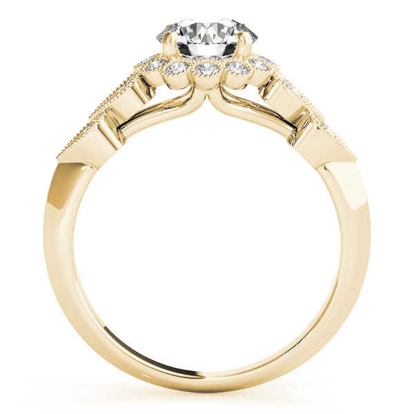 Floral Halo Diamond Engagement Rings with Heart Shape Accent in Yellow Gold
