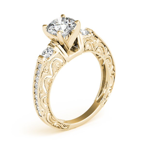 Three Stone Diamond Engagement Ring with Filigree & Milligrain Designs in Yellow Gold