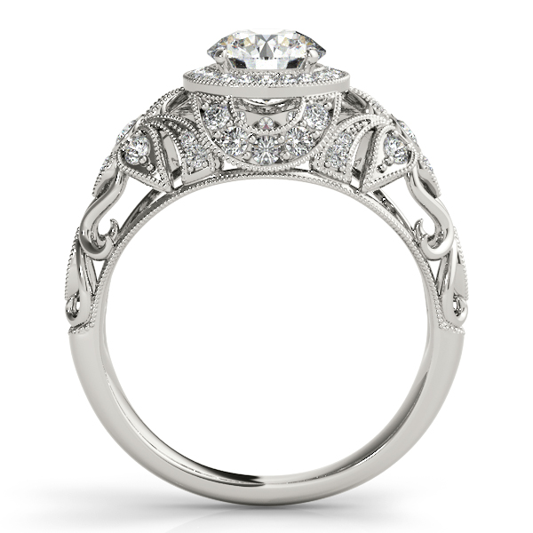 Halo Floral Diamond Filigree Engagement Ring