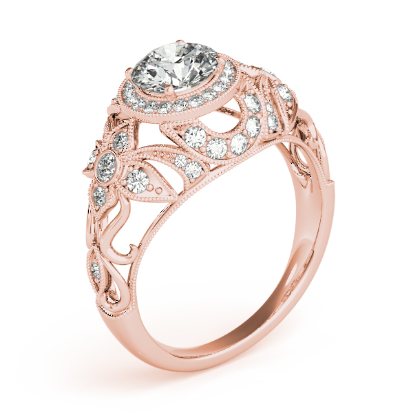 Halo Floral Diamond Filigree Engagement Ring in Rose Gold