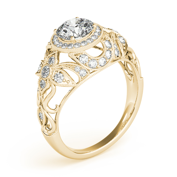 Halo Floral Diamond Filigree Engagement Ring in Yellow Gold