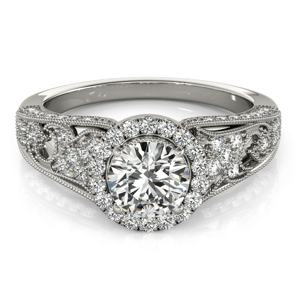 Vintage Halo Diamond Engagement Ring with Floral Filigree & Milligrain Design