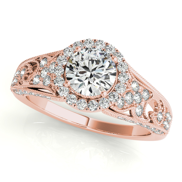 Vintage Halo Diamond Engagement Ring with Floral Filigree & Milligrain Design in Rose Gold