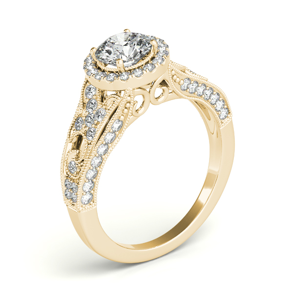 Vintage Halo Diamond Engagement Ring with Floral Filigree & Milligrain Design in Yellow Gold