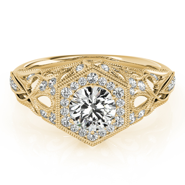 Vintage Hexagon Diamond Halo Engagement Ring with Filigree Band Yellow Gold