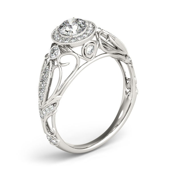 Halo Diamond Engagement Ring with Filigree