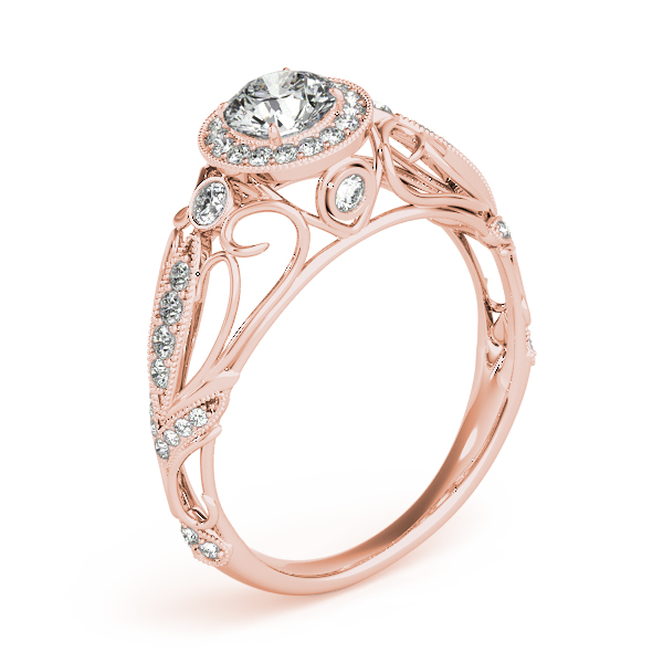 Halo Diamond Engagement Ring with Filigree in Rose Gold