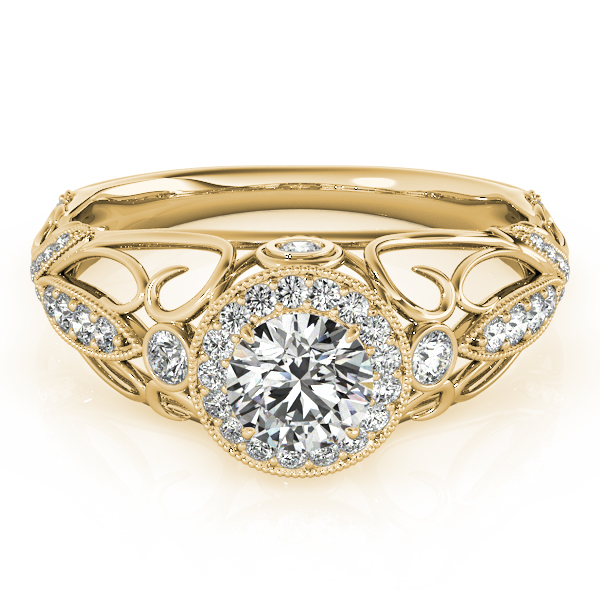 Halo Diamond Engagement Ring with Filigree in Yellow Gold